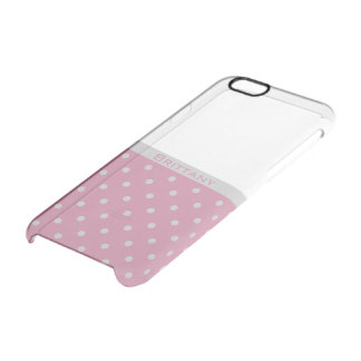 Silver Grey Dots and Cashmere Rose Pink Split Clear iPhone 6/6S Case
