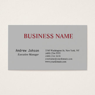 Silver Grey Elegant Classical Simple Business Card