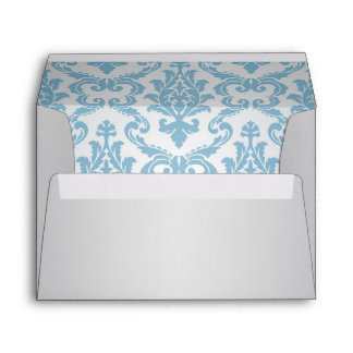 Silver-grey Envelope with blue damask pattern