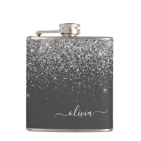 Silver Grey Girly Glitter Sparkle Monogram Name Flask