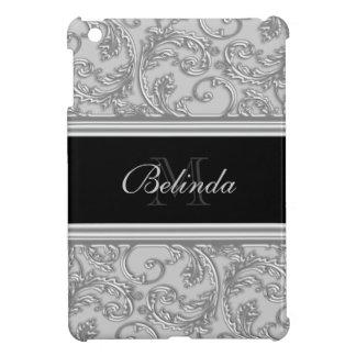 Silver grey girly swirl iPad mini case