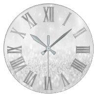 Silver Grey Glitter Minimal Metallic Roman Numers Large Clock