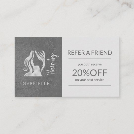 silver grey logo hairstyle refer a friend template referral card
