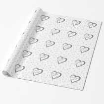 Silver Grey Lovehearts Wedding Pattern Wrapping Paper