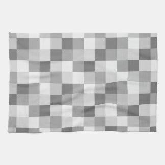 Silver Grey Monochrome Checkered Pattern Hand Towel