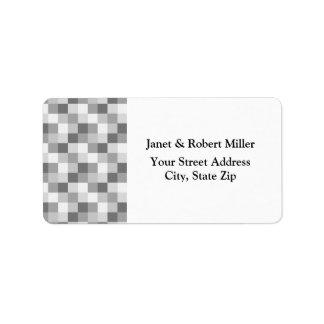 Silver Grey Monochrome Checkered Pattern Label