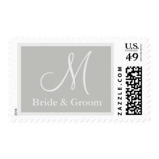 Silver Grey Monogram Wedding postage