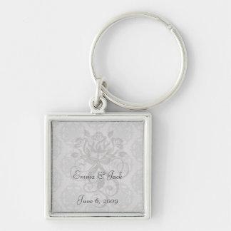 silver grey ornate damask pattern key chains