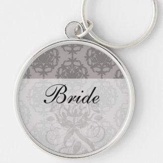 silver grey ornate damask pattern keychain