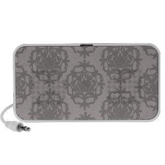 silver grey ornate damask pattern PC speakers