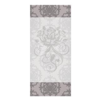 silver grey ornate damask pattern personalized rack card