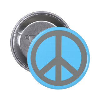 Silver Grey Peace Symbol Products 2 Inch Round Button