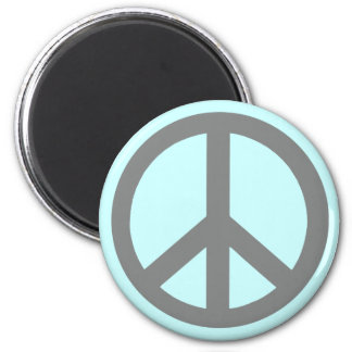 Silver Grey Peace Symbol Products 2 Inch Round Magnet