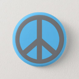 Silver Grey Peace Symbol Products Pinback Button