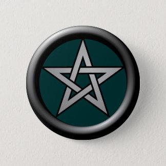 Silver Grey Pentagram on Drk Green Pinback Button