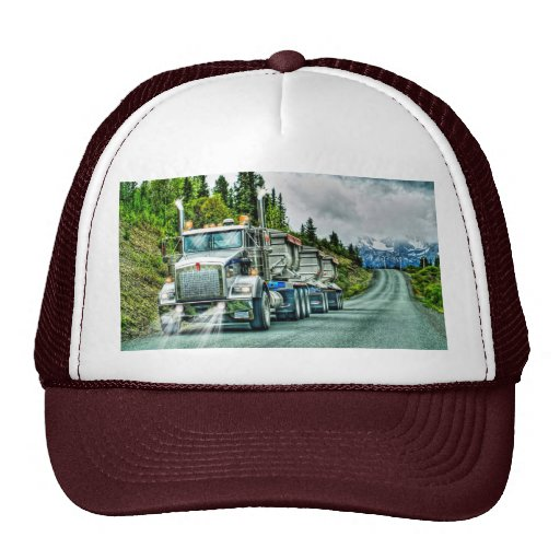 Silver-Grey Quarry Truck Lorry Photo Art Mesh Hat