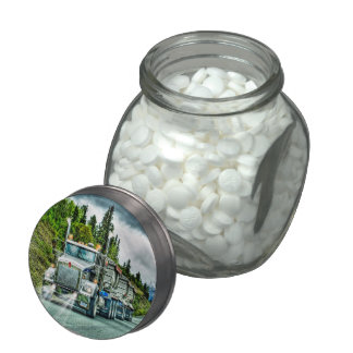 Silver-Grey Quarry Truck Lorry Photo Art Jelly Belly Candy Jar
