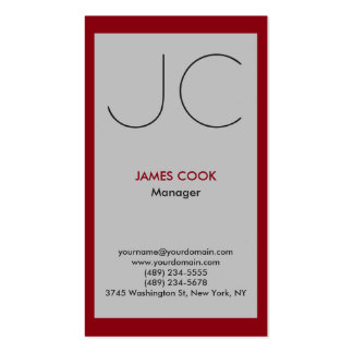 Silver grey red vertical professional monogram business card