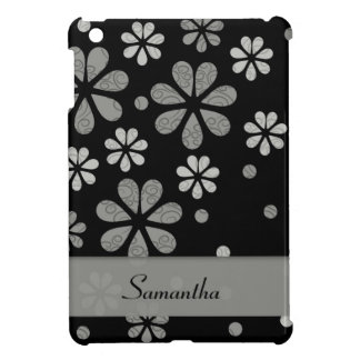 Silver Grey Retro Flowers On Black Case For The iPad Mini