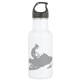 Silver Grey Snowmobiler 18oz Water Bottle
