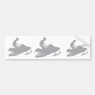 Silver Grey Snowmobiler Bumper Sticker