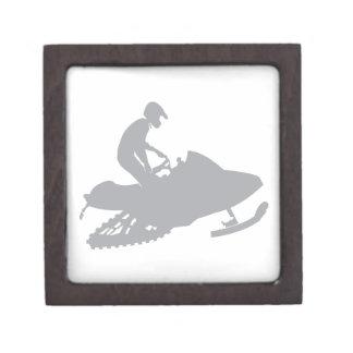 Silver Grey Snowmobiler Keepsake Box