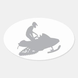 Silver Grey Snowmobiler Oval Sticker