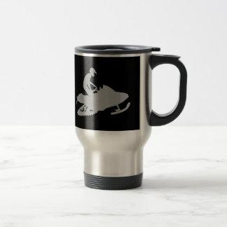 Silver Grey Snowmobiler Travel Mug