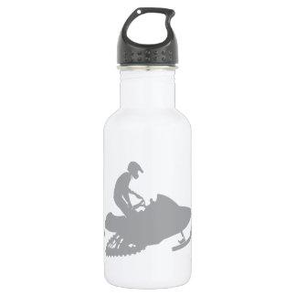 Silver Grey Snowmobiler Water Bottle