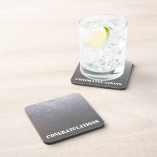 SILVER Grey Sparkle : Leather Look Finish Beverage Coaster