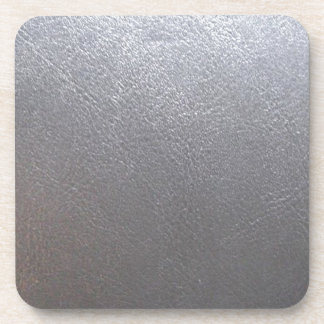 SILVER Grey Sparkle : Leather Look Finish Drink Coasters