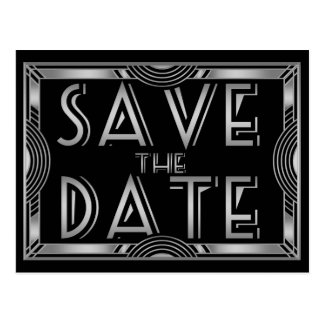 Silver Grey Vintage Art Deco Wedding Save the Date Postcard