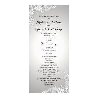 Silver Grey Vintage Floral Lace Wedding Program Custom Rack Cards