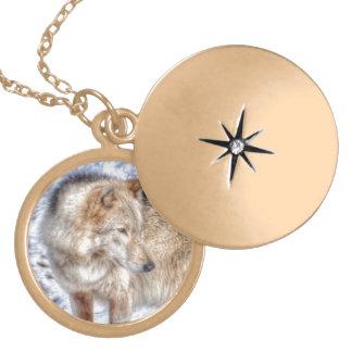 Silver Grey Wolf & Snow Wildlife Portrait Locket Necklace