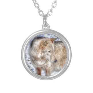 Silver Grey Wolf & Snow Wildlife Portrait Silver Plated Necklace