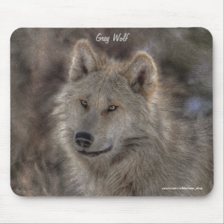 Silver Grey Wolf Wildlife Art Portrait Mouse Pad
