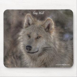 Silver Grey Wolf Wildlife Art Portrait Mouse Pad