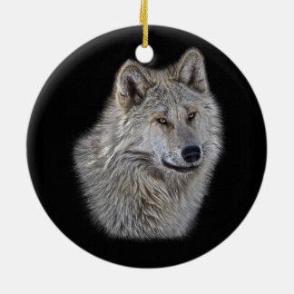 Silver Grey Wolf Wildlife Portrait Ceramic Ornament