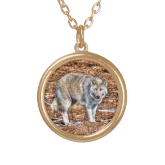 Silver Grey Wolf Wildlife Portrait Gold Plated Necklace