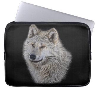 Silver Grey Wolf Wildlife Portrait Laptop Sleeve