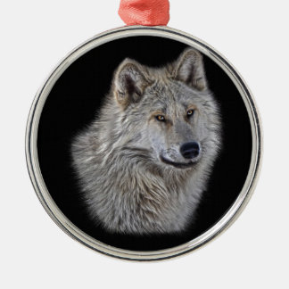 Silver Grey Wolf Wildlife Portrait Metal Ornament