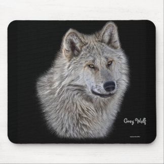 Silver Grey Wolf Wildlife Portrait Mouse Pad