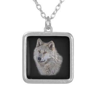Silver Grey Wolf Wildlife Portrait Silver Plated Necklace