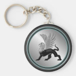 Silver Griffin Basic Round Button Keychain