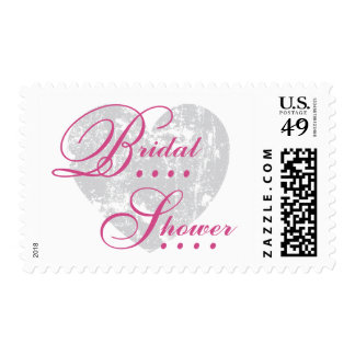Silver Grunge Heart Pink Text Bridal Shower A06 Postage Stamps