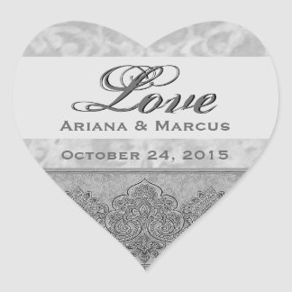 Silver Grunge Wedding Damask and Ribbon V03 Heart Sticker