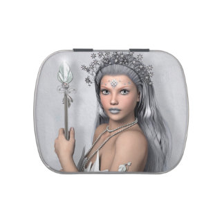 Silver hair girl with sword candy tin