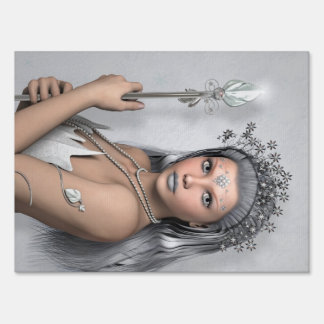 Silver hair girl with sword yard sign
