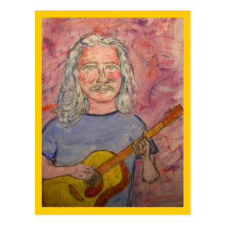 silver haired acoustic rocker postcard