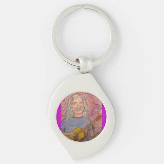 silver haired folk rocker dude Silver-Colored swirl metal keychain